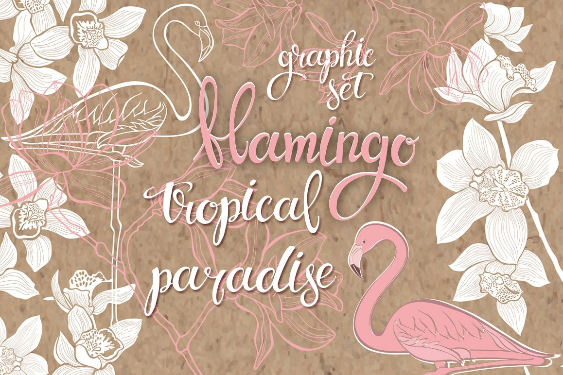Flamingo. Tropical paradise. example image 1