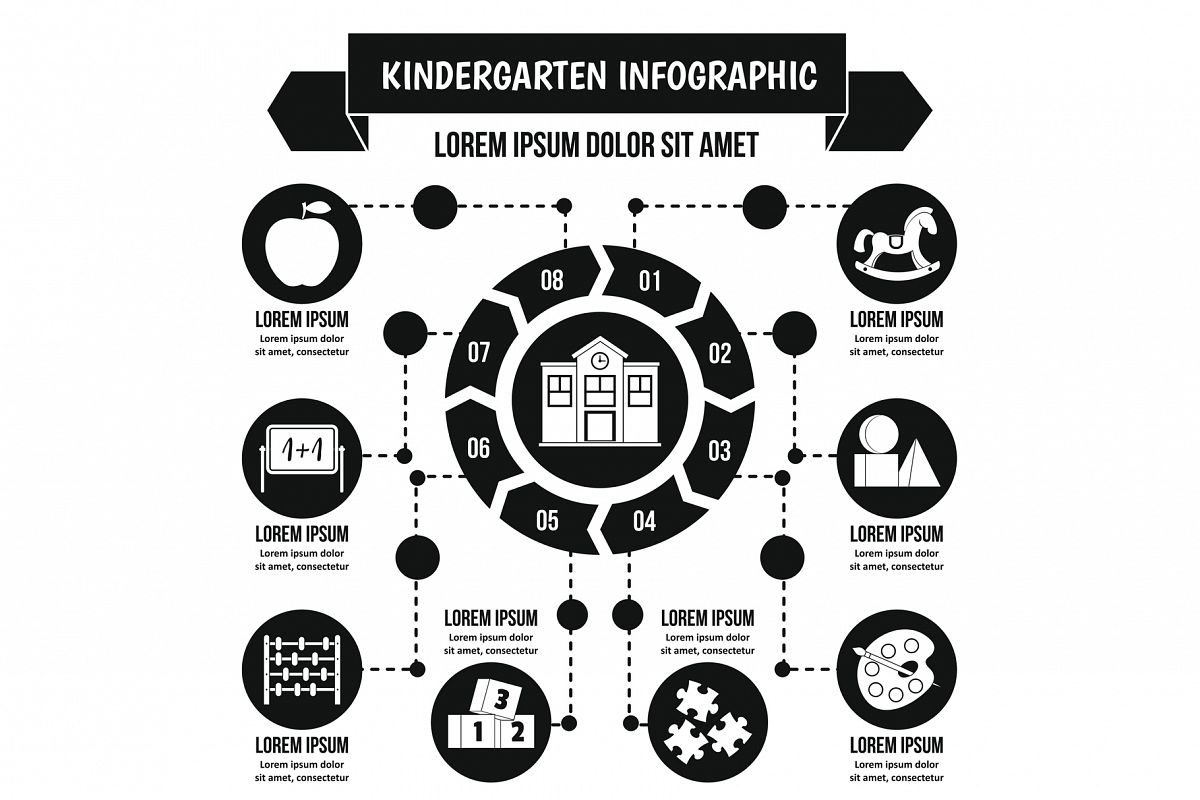 Kindergarten infographic concept, simple style example image 1