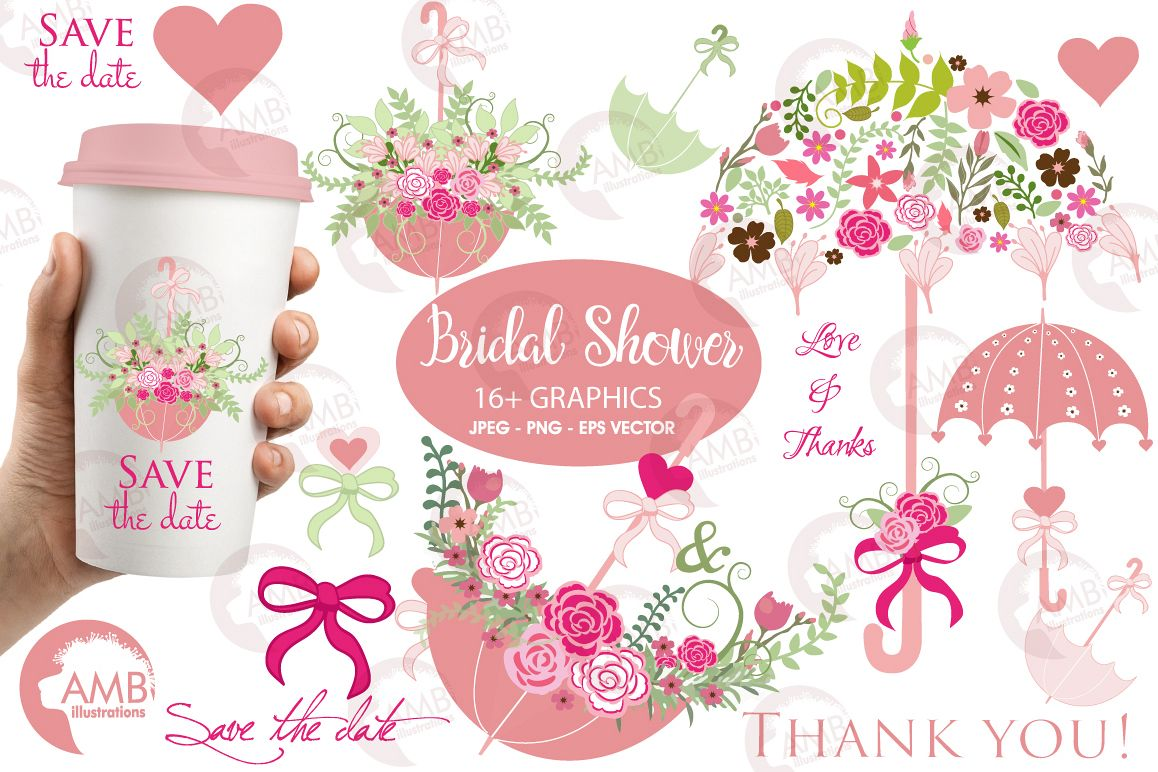 Umbrella Floral clipart, graphics, illustrations AMB-871 example image 1