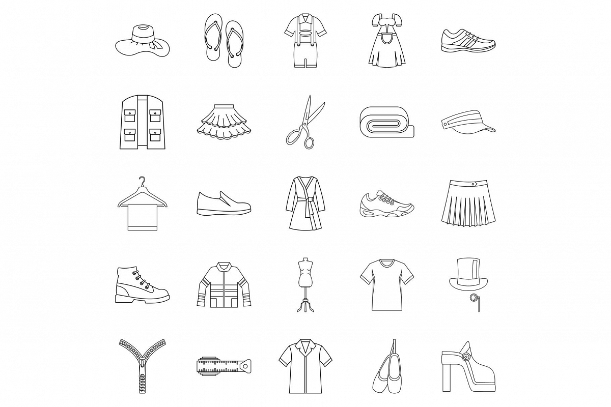Stitching icons set, outline style example image 1