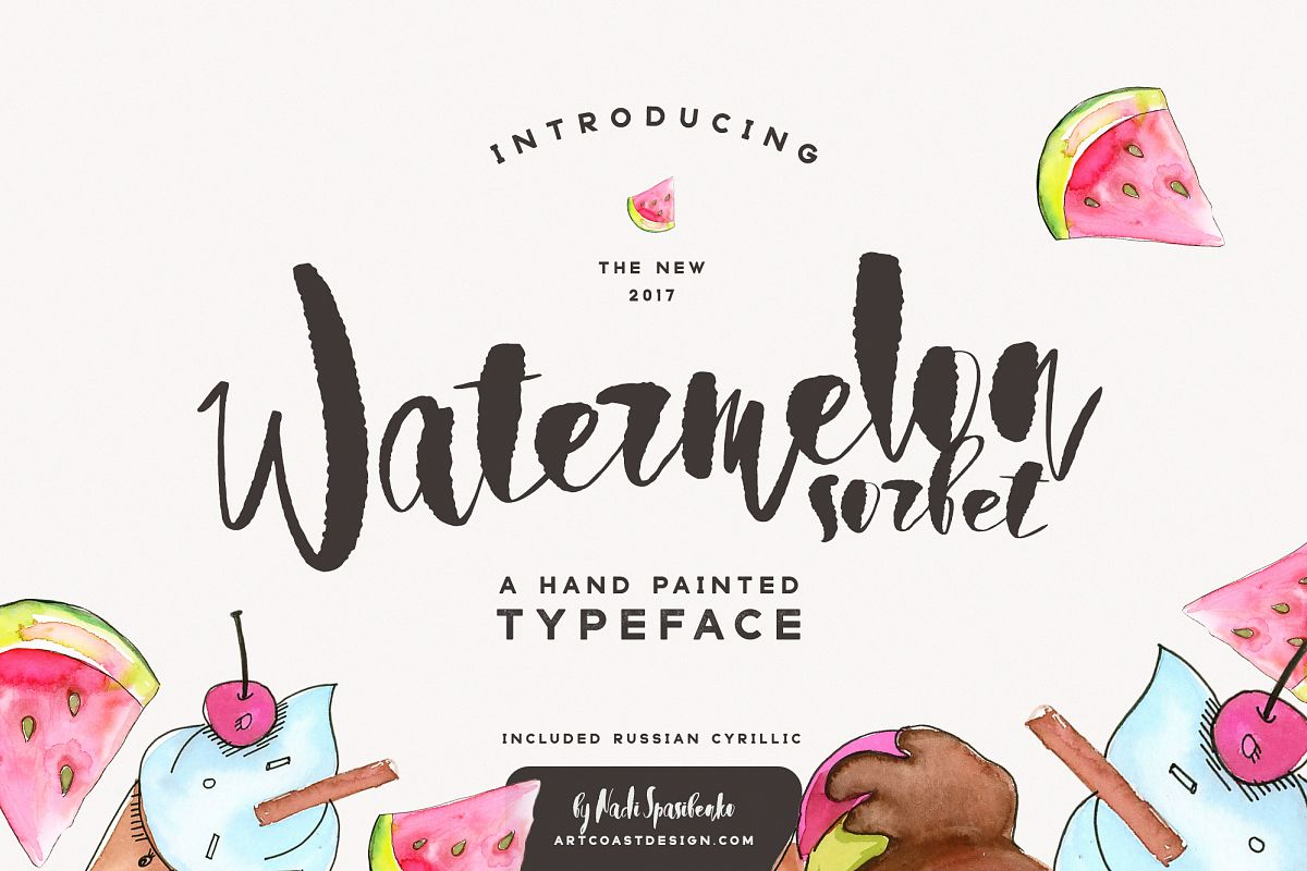 Watermelon Sorbet Brush Script example image 1