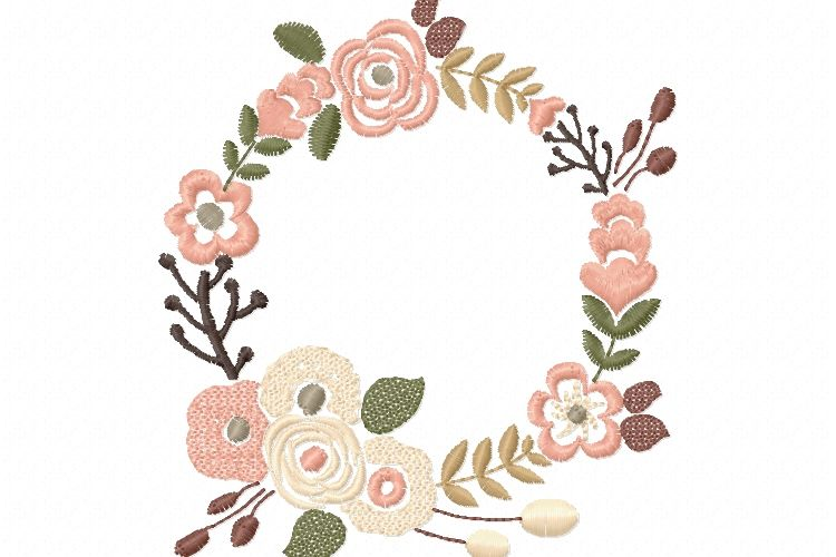 Floral Wreath for Monogram Frame in 5 sizes