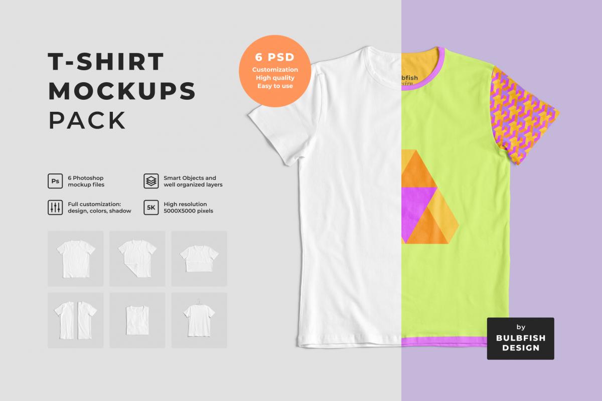 Customizable T-Shirt Mockups Pack example image 1