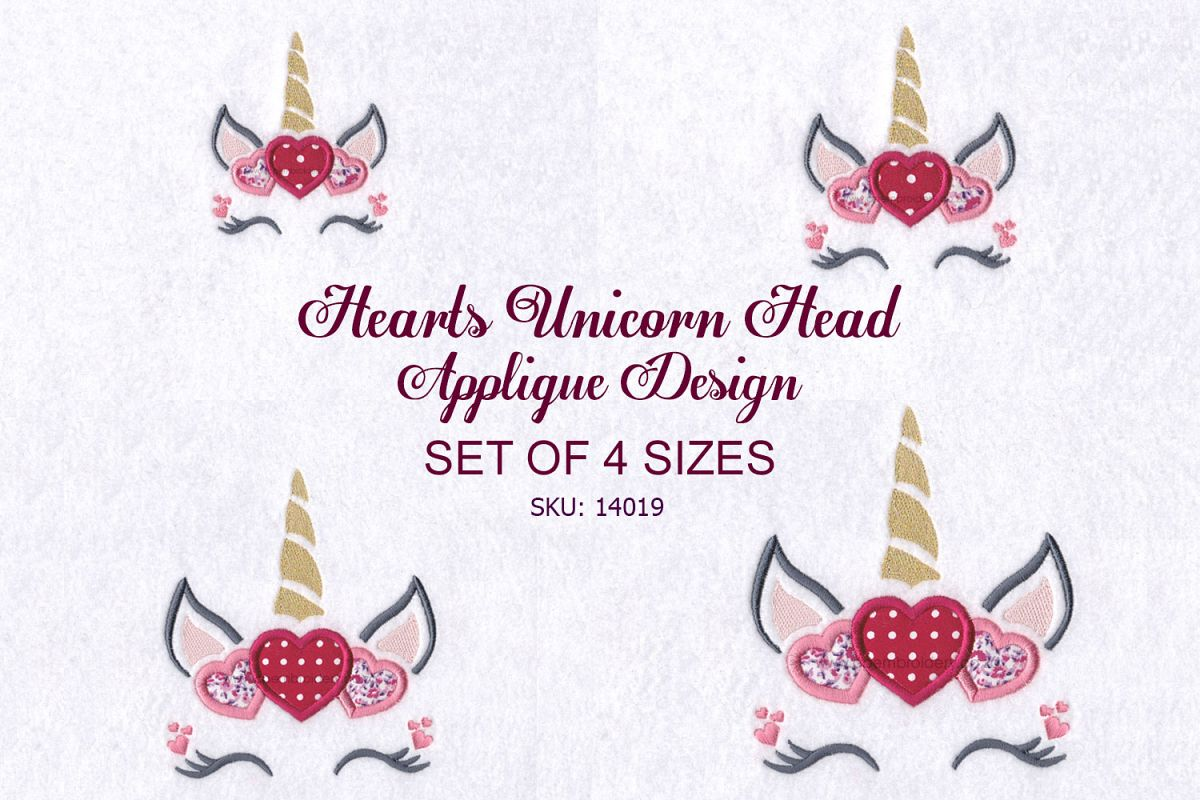 Hearts Unicorn Head Applique Embroidery Design example image 1