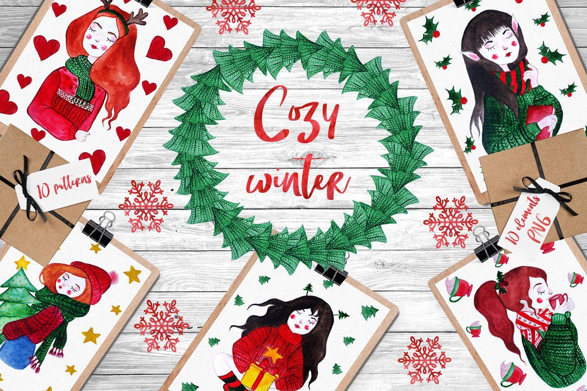 Cozy Winter Watercolor Set example image 1
