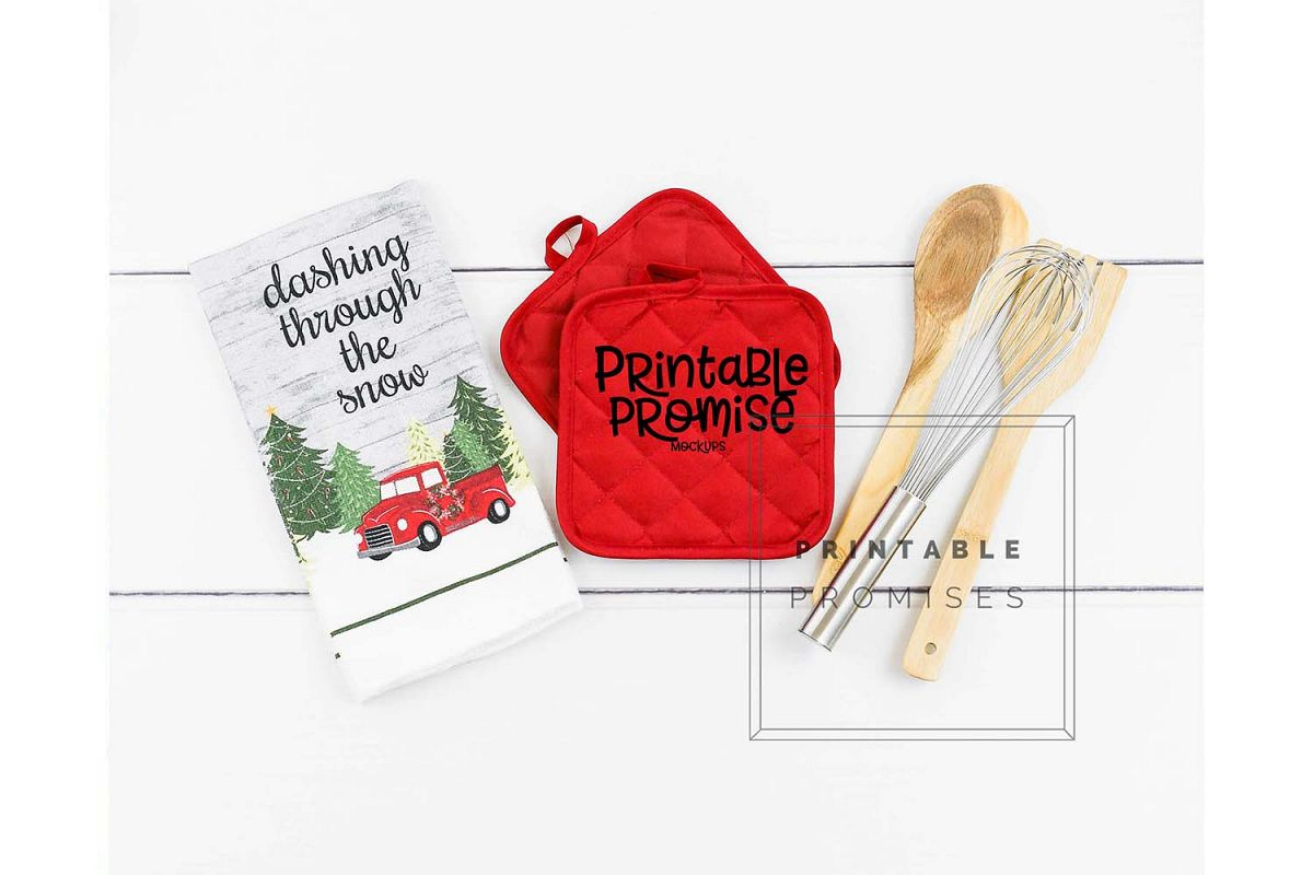 Potholder Mockup Pot Holder Mock up Kitchen Mockup example image 1