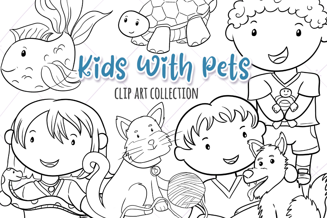 Kids With Pets Digital Stamps example image 1