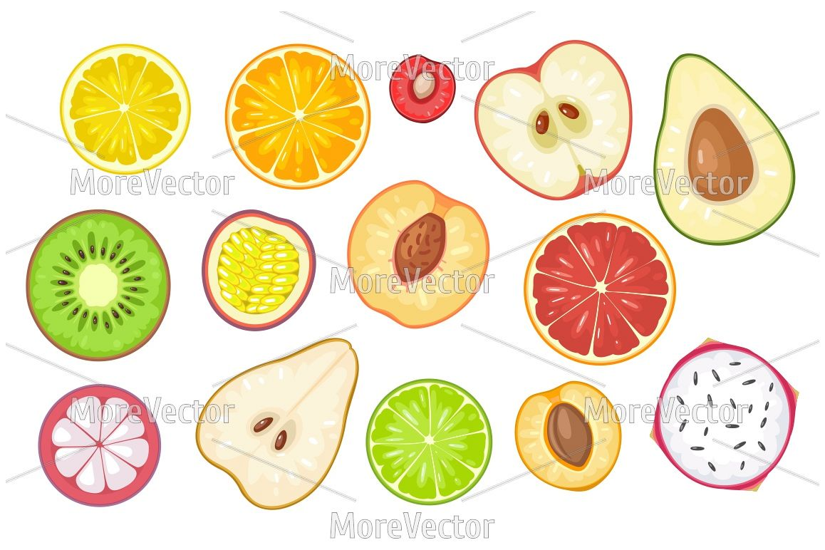 Set slice fruits. example image 1