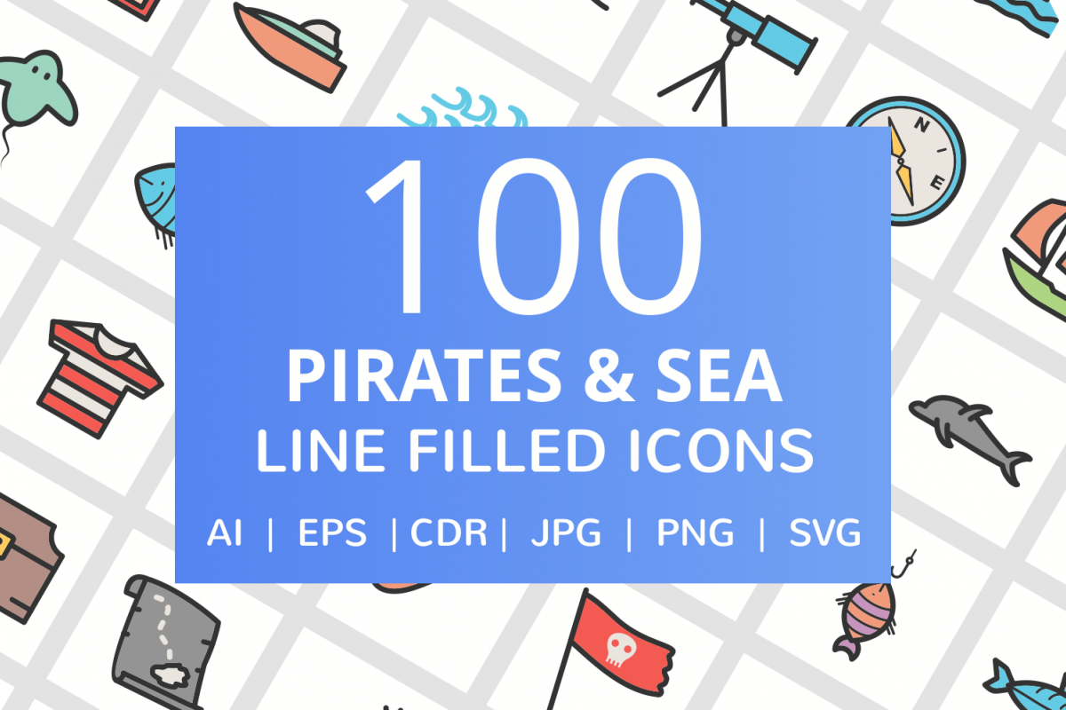 100 Pirate & Sea Filled Line Icons example image 1