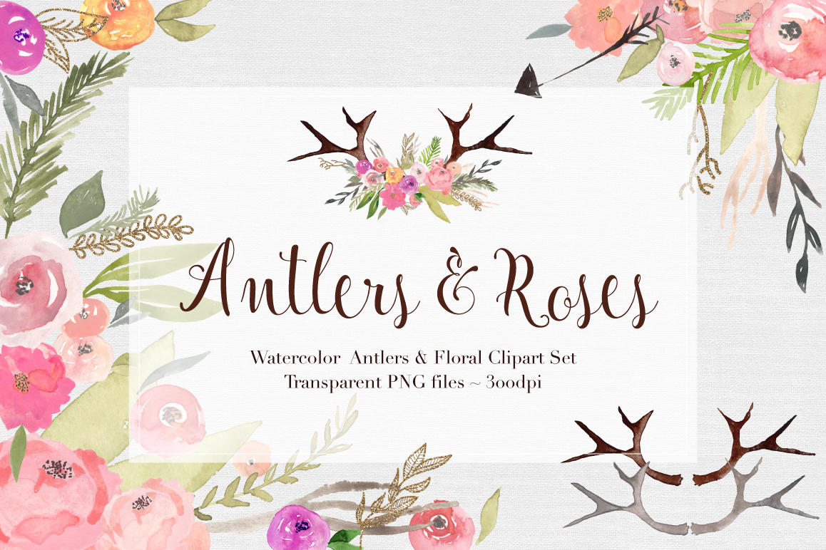 Antlers & Roses Watercolor Clipart example image 1