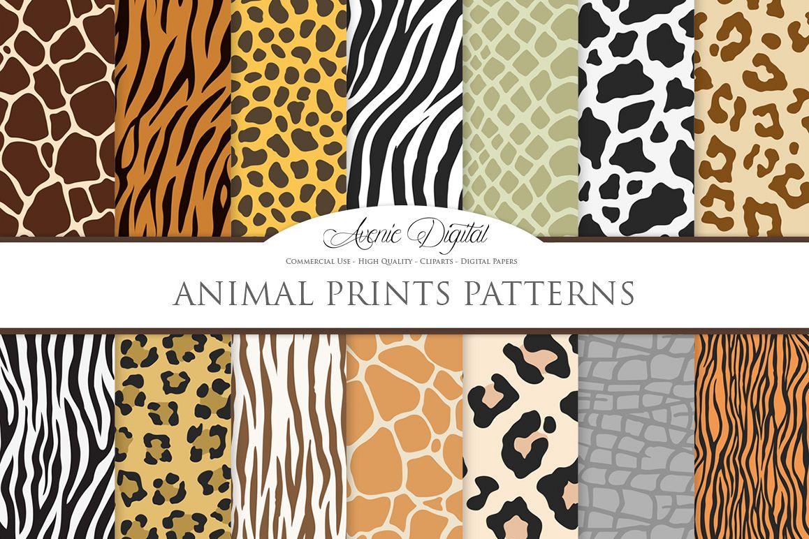 Animal Print Vector Patterns -  Safari Seamless Digital Papers example image 1