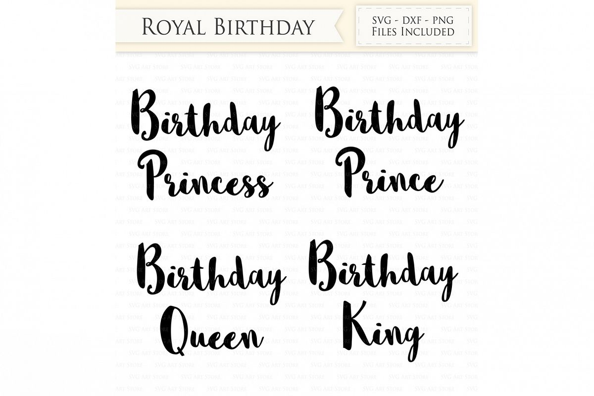 Birthday Princess SVG Cutting Files and Clipart example image 1