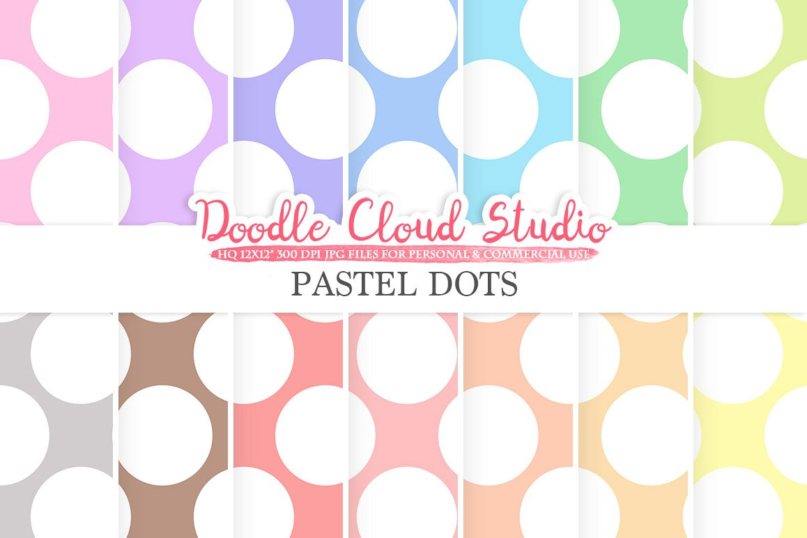 Pastel Circles digital paper, Big Polkadot pattern, Digital Circles, pastel background, Instant Download for Personal & Commercial Use example image 1