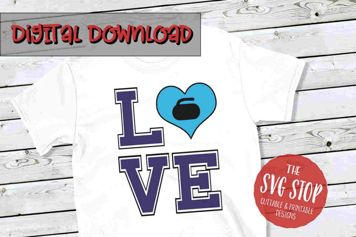 Love Curling 2 -SVG, PNG, DXF example image 1