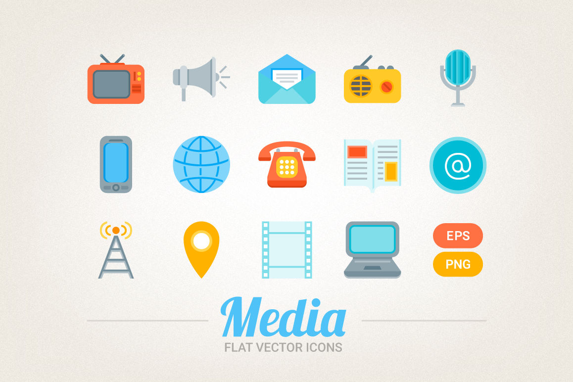 Flat Media Icons example image 1