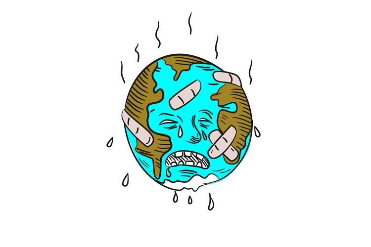 Earth Sad and Crying Doodle example image 1