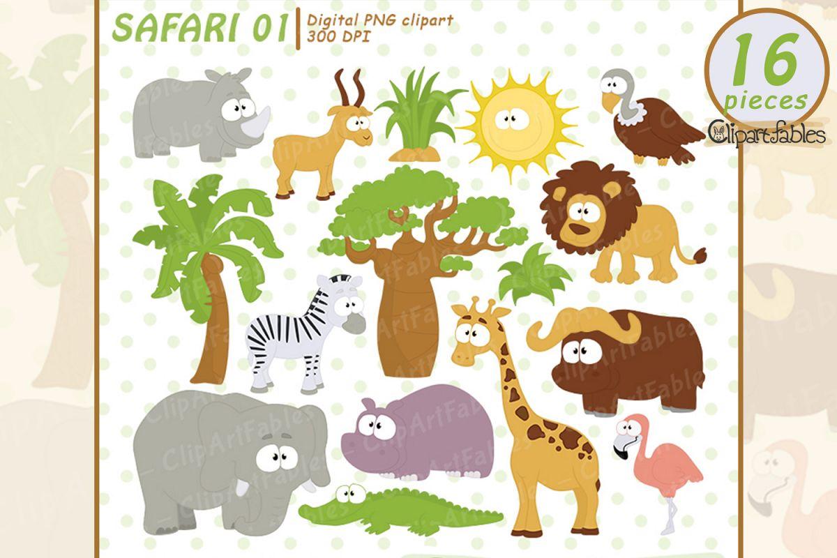 SAFARI clipart, cute animals clip art, instant download example image 1