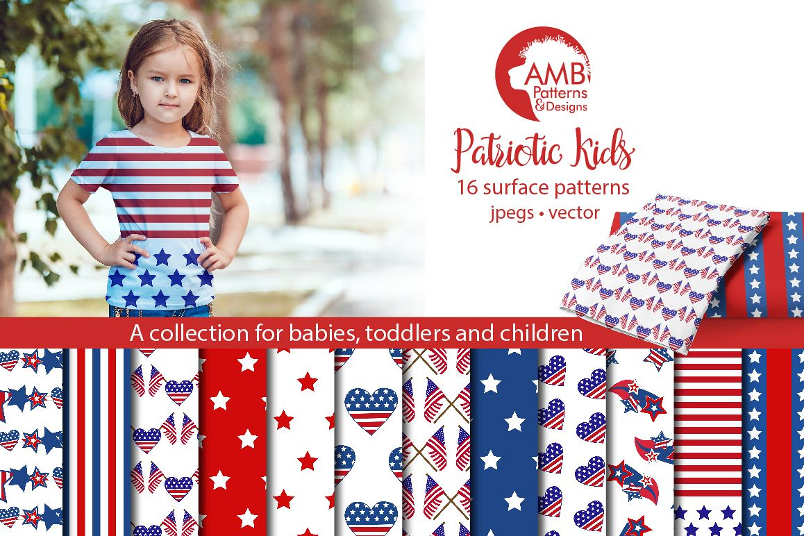 Patriotic, Fourth of July patterns, paper AMB-1357 example image 1