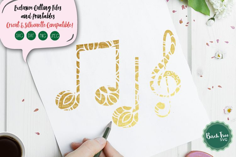 Musical Notes Svg, Floral Music Svg, Music Notes Svg File example image 1