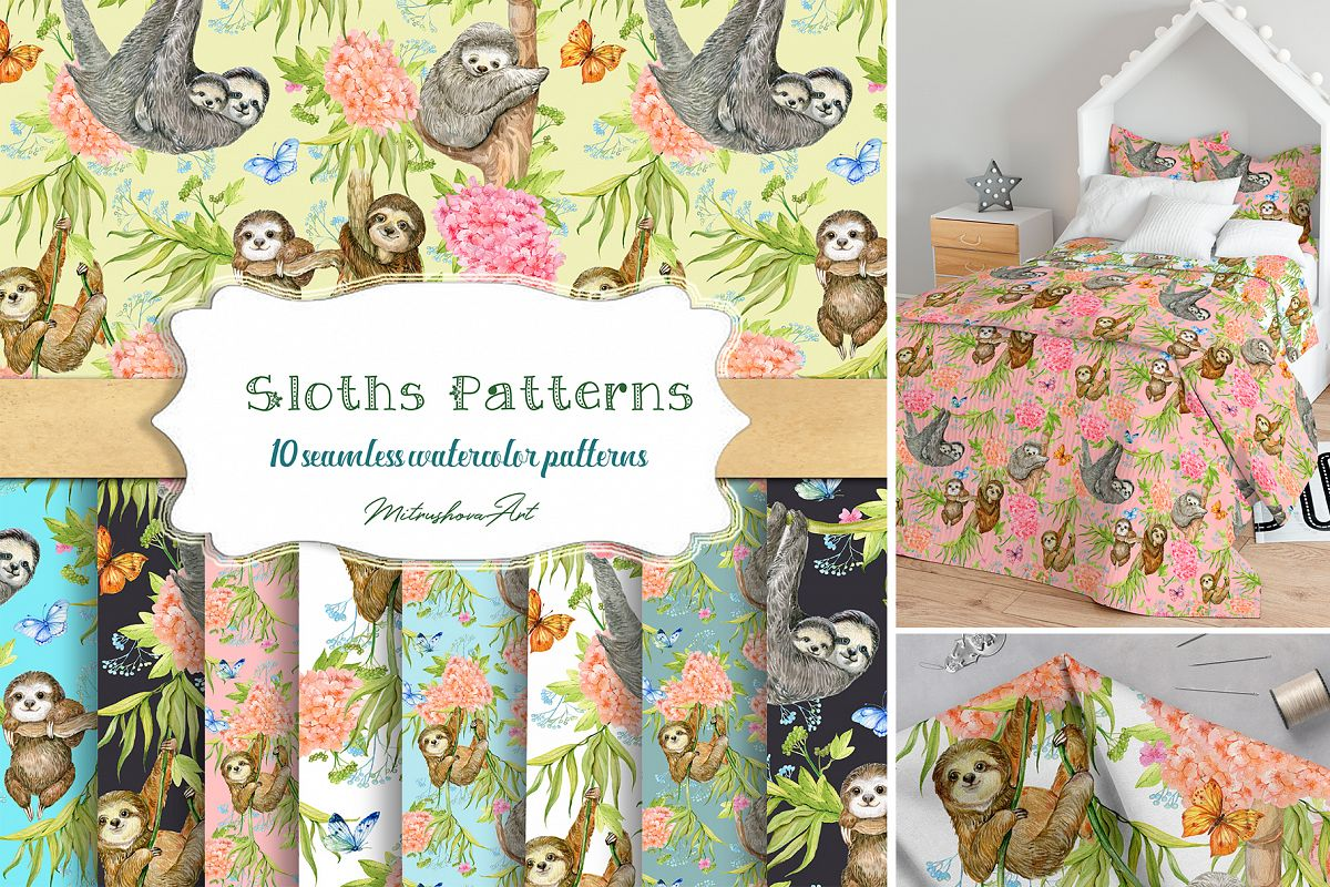 Sloths Seamless patterns example image 1