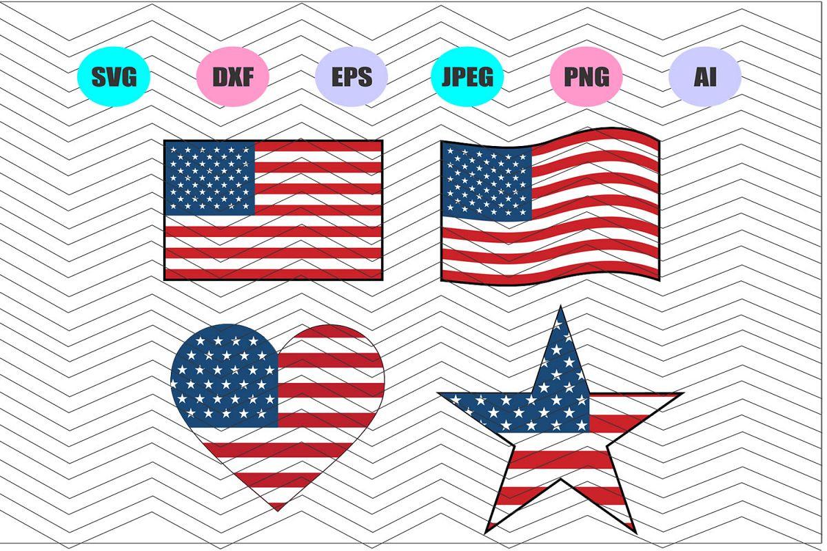 American Flag Svg, Heart American Flag Svg Vector File Vinyl example image 1