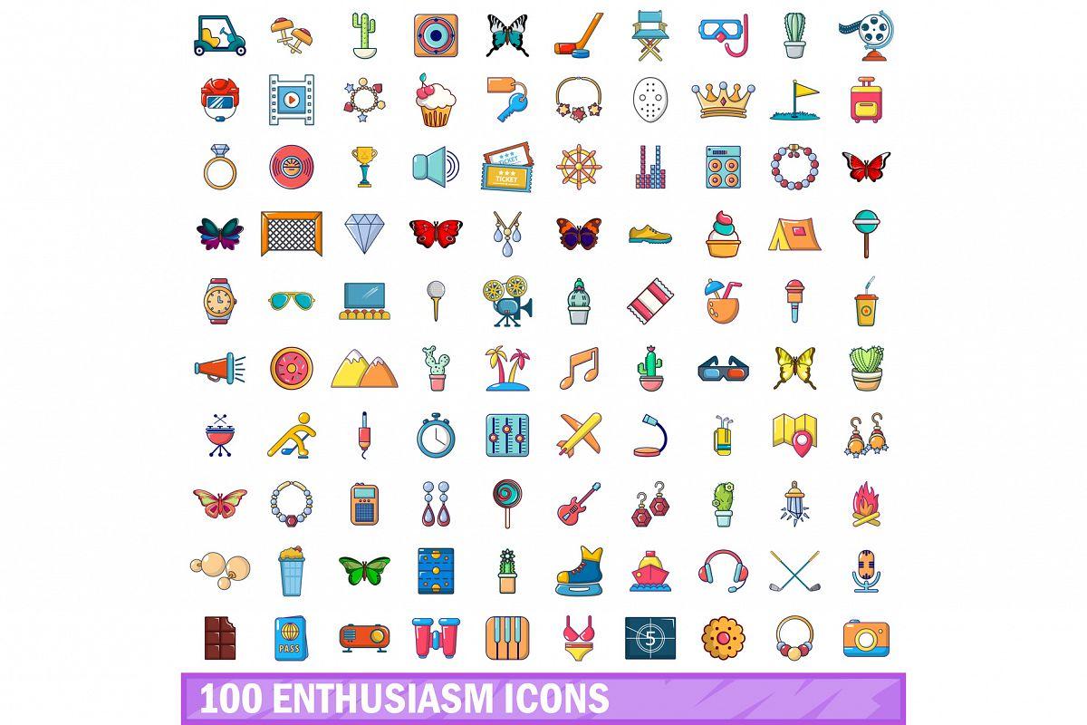 100 enthusiasm icons set, cartoon style example image 1