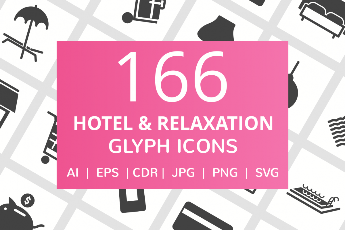 166 Hotel & Relaxation Glyph Icons example image 1