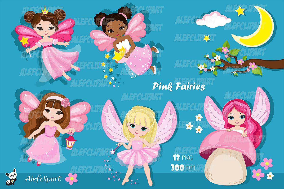 802535a435d6e Pink Fairy Clipart. Cute Fairies in Fairyland