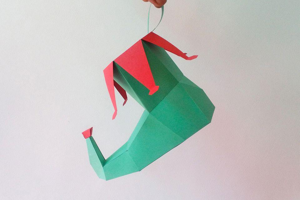 DIY Elf Shoe - 3d papercraft example image 1