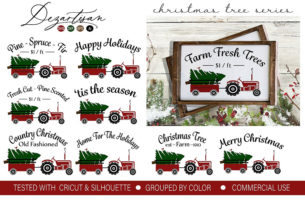 Christmas Tree Tractor Series SVG DXF PNG Cut File