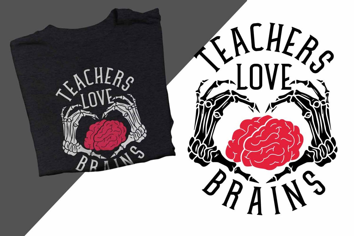 Teachers love brains Halloween Printable example image 1