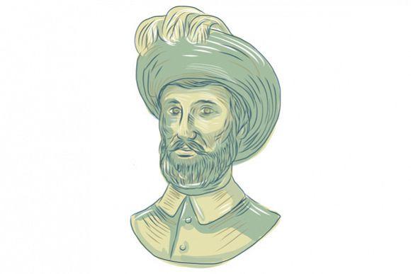 Juan Sebastian Elcano Bust Drawing example image 1