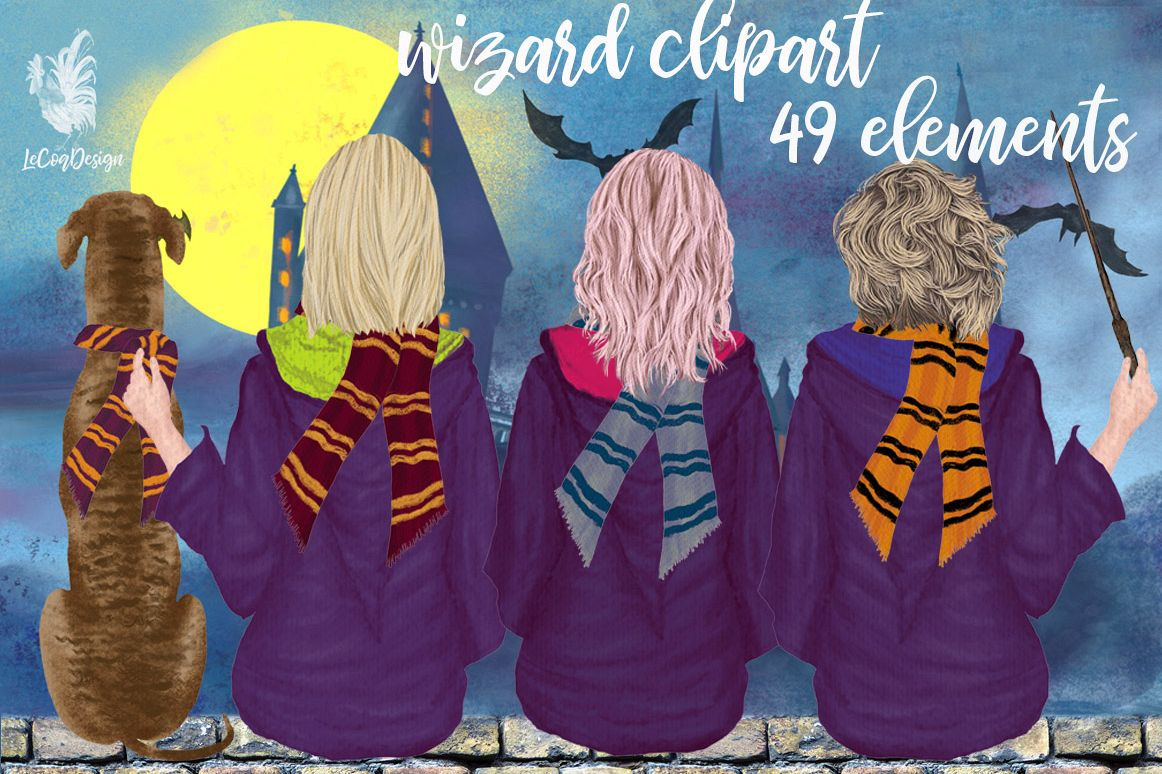 Wizard Girls, Castel Landscape, Dog clipart Wizard friends example image 1