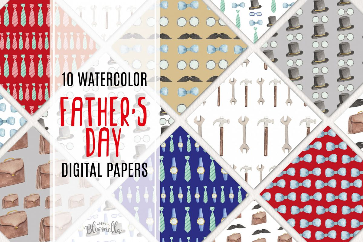 Fathers Day Watercolor Digital Papers example image 1