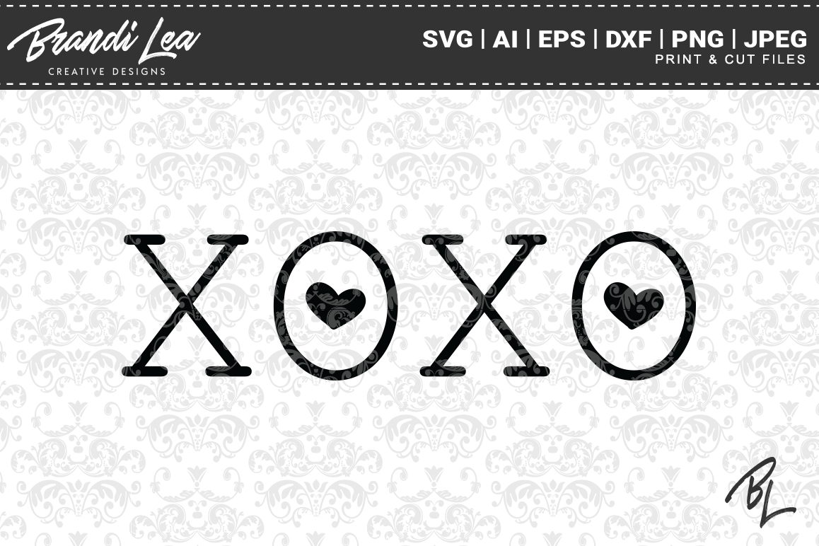XOXO Valentine's Day SVG Cutting Files example image 1