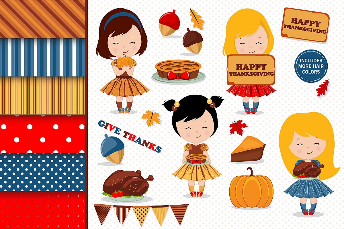 Thanksgiving girl illustration, Thanksgiving graphics example image 1