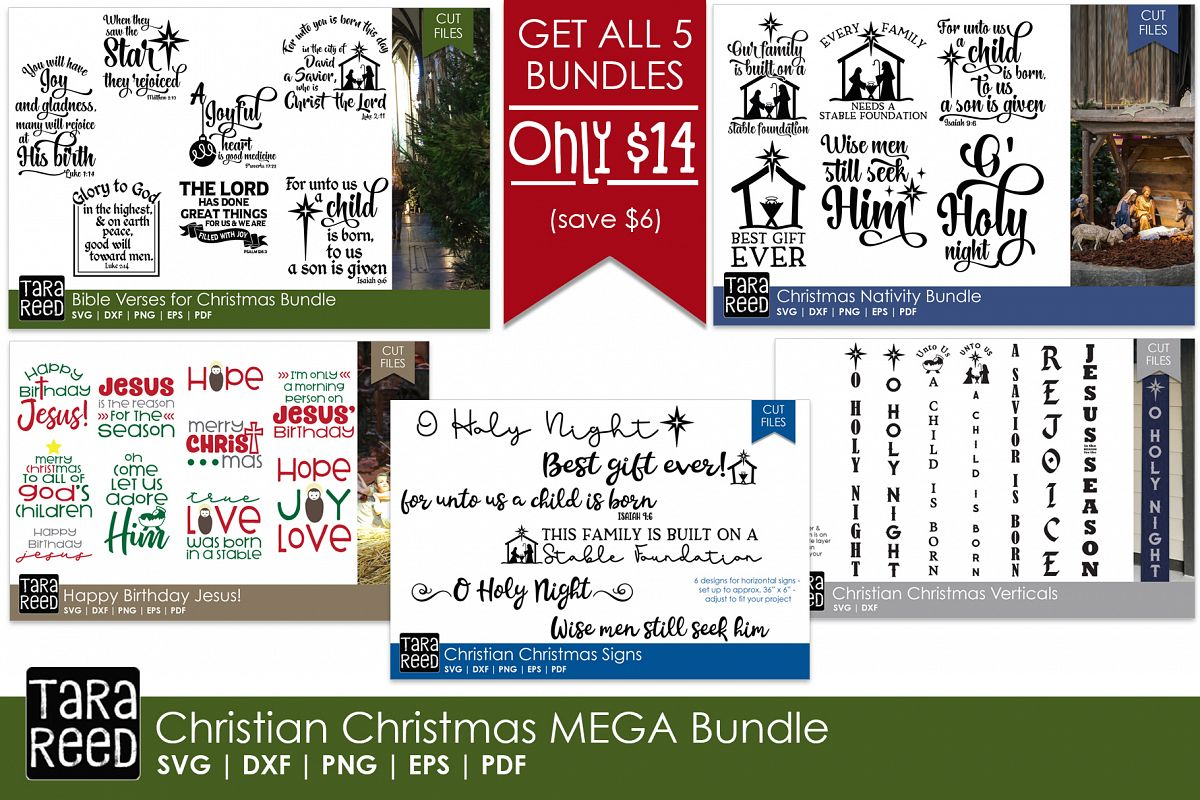 Christian Christmas MEGA Bundle - SVG Files for Crafters example image 1