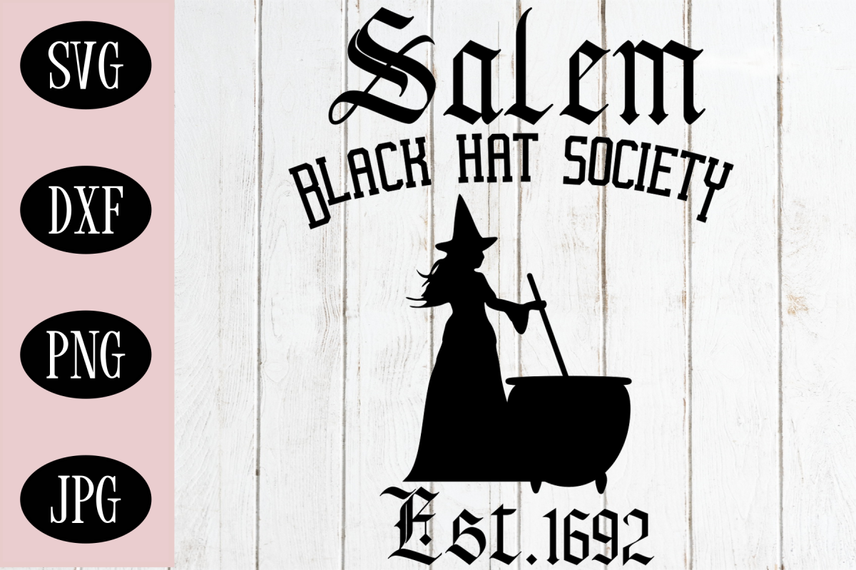 Witch SVG, Black Hat Society, Halloween Digital Cut File example image 1