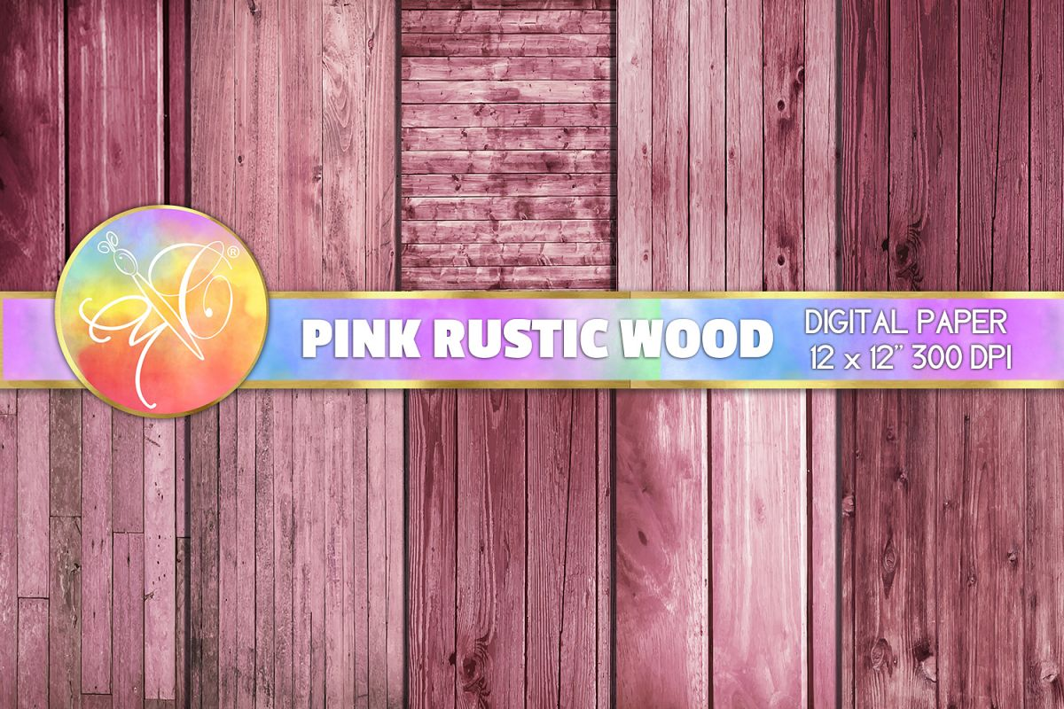 Pink Rustic Wood Digital Paper, Digital Background example image 1