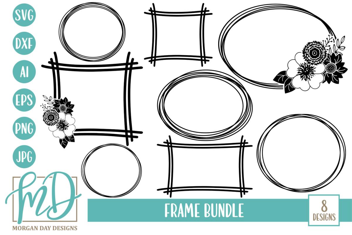Floral Frame - Floral Wreath - Frame Bundle SVG example image 1