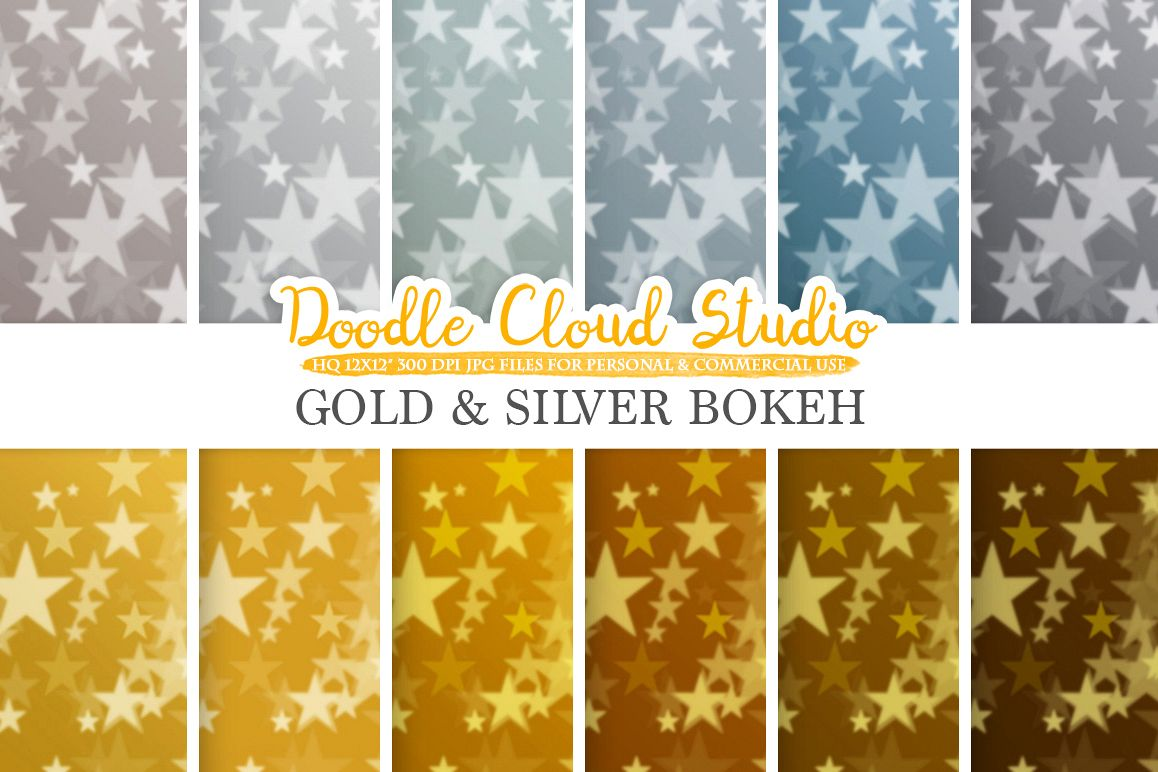 Gold & Silver Stars Bokeh digital paper, Metallic Bokeh Overlay, Star Bokeh backgrounds, Instant Download, for Personal and Commercial Use example image 1