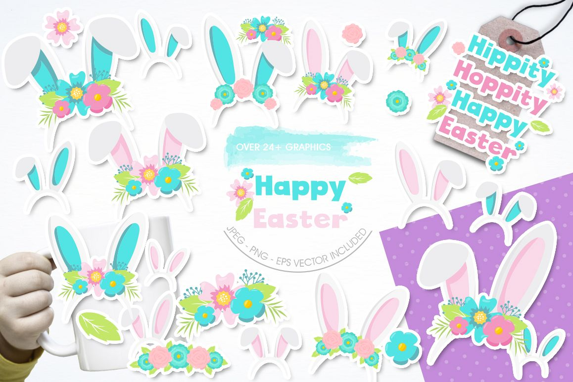 Happy Easter graphic and illustrations example image 1
