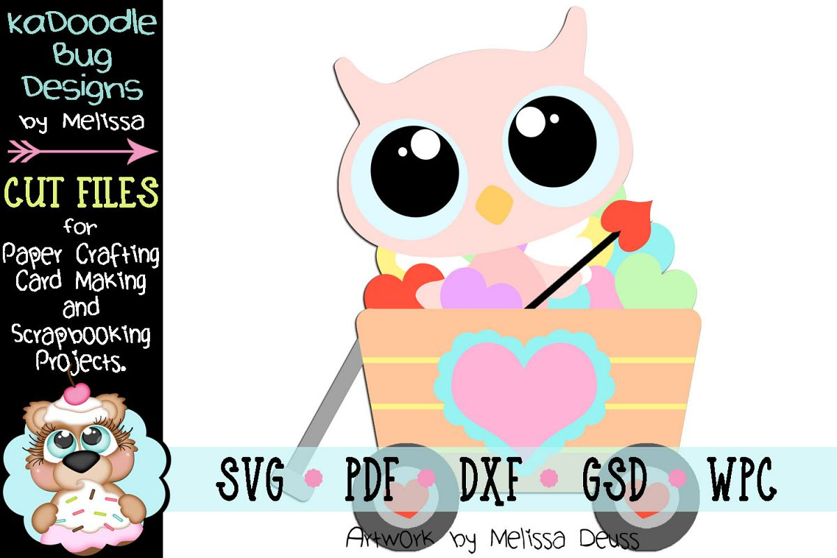 Valentine Heart Wagon Owl Cut File - SVG PDF DXF GSD WPC example image 1