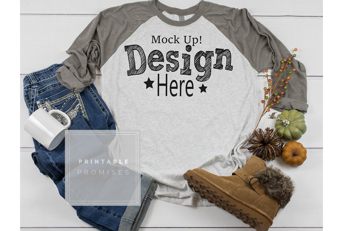 Next Level 6051 Vintage Grey Raglan Mockup Fall Mockup Photo example image 1