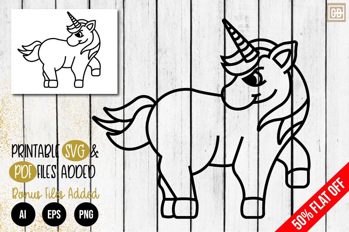 Outline Angry Unicorn SVG, EPS, AI, PDF, PNG example image 1