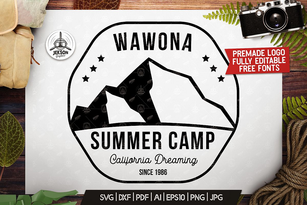 Summer Camp Logo Template, Retro California Badge SVG File example image 1