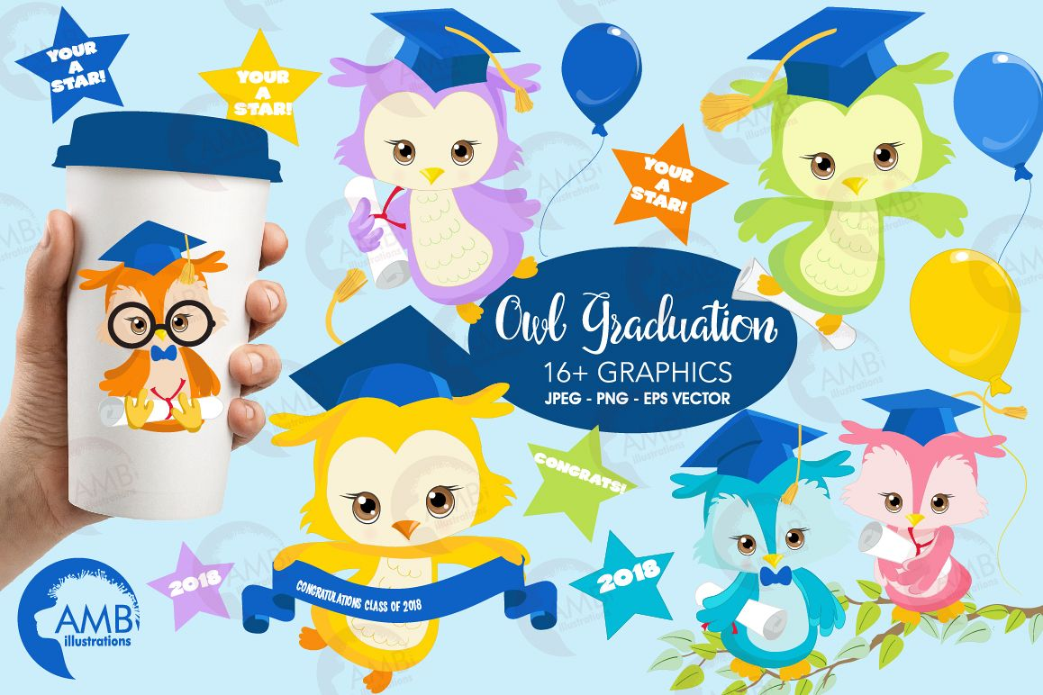 Graduation Owls Clipart Kids Graphics Illustrations AMB 1206 Example Image