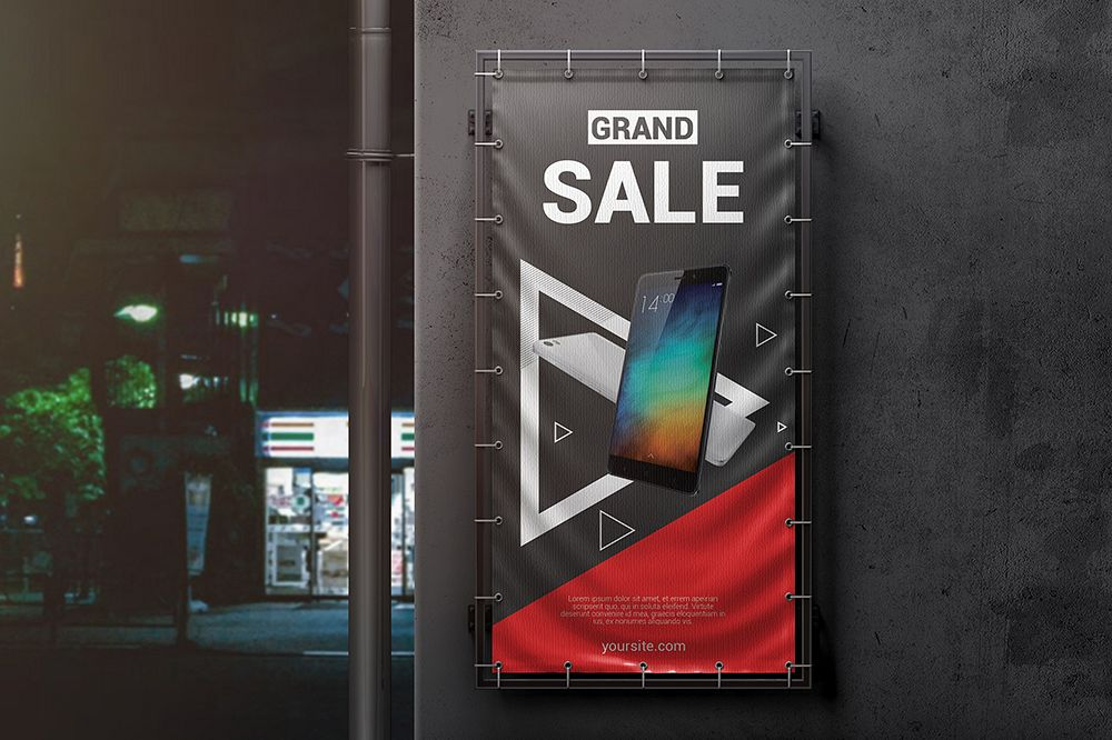 Vertical Outdoor Advertising Banner Mockup example image 1