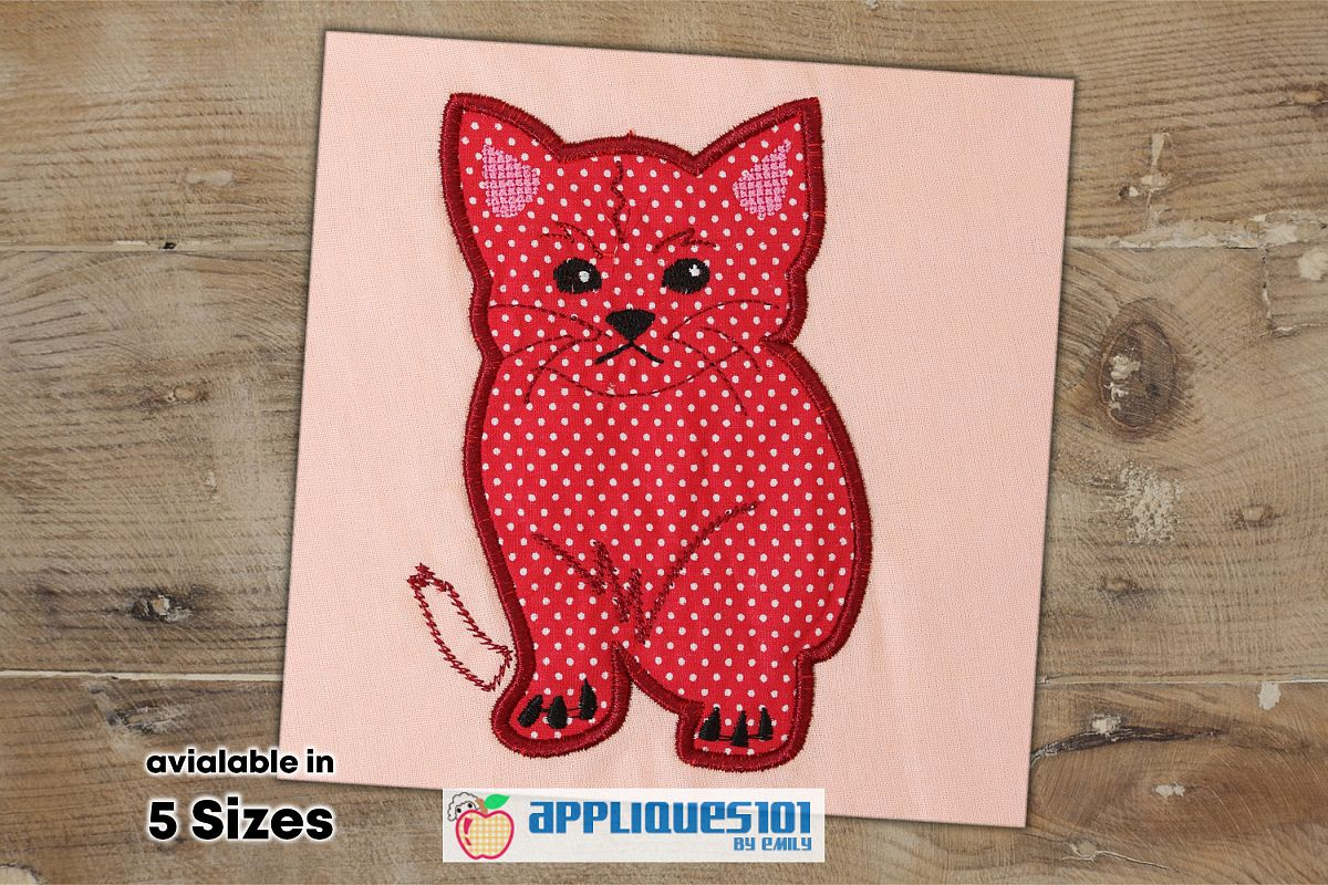 Cute Kitten Machine Embroidery Applique Design - Cats example image 1