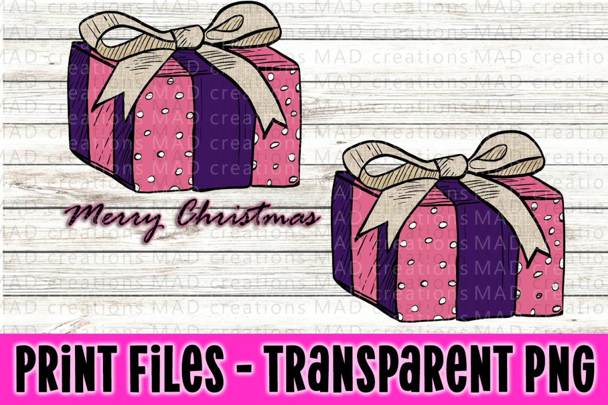 Christmas Present - Pink and Purple- Print File example image 1